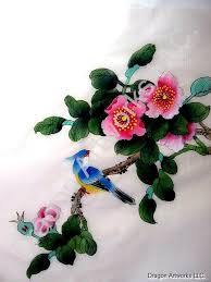 Flower And Bird - blue crested bird and pink flower blossoms silk painting