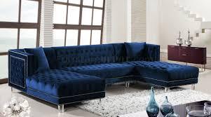 moda sectional sofa 631 in navy velvet fabric by meridian