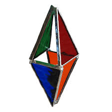 stained glass ornament multi coloured prism