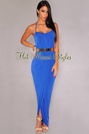 Draped Maxi Dress Royal Blue Halter Gold Belted Maxi Dress