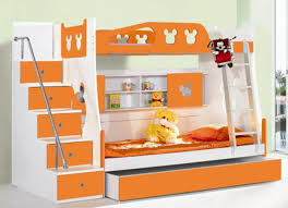 Kids Wall Shelves by White And Orange Wooden Bunk Bed With Stairs And Ladder On The