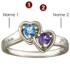 rings with birthstones cupid sterling silver promise ring with 2 genuine birthstones