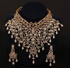 jewelry designs necklace sets images Gold and diamond jewellery designs indian diamond choker bridal jpg