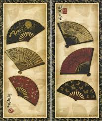 oriental fan wall hanging 2 panels japanese traditional flower fans wall hanging frameless