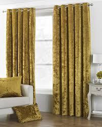 Gold Velvet Curtains Pile Crushed Velvet Ochre Gold Lined Ring Top Curtains 8