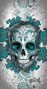 how cool is this sugar skull day of the dead skull blue