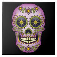 flower sugar skull ceramic tiles zazzle