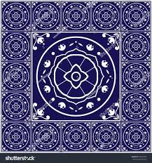 Tile Floor In Spanish by Blue White Tiles Floor Pattern Vector Stock Vector 518670682