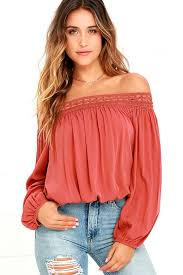 bebe blouses sale chic terra cotta top the shoulder top lace the
