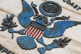 handmade distressed wooden coast guard flag vintage art