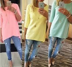 light pink top women s yellow light blue green orange red pink irregular women top 3 4