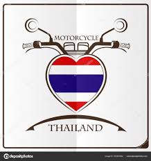 Flag Of Thailand Motorcycle Logo Made From The Flag Of Thailand U2014 Stock Vector