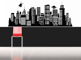 Skyline Wallpaper Bedroom Superman Flying Over City Daily Planet Skyline Wall Decal