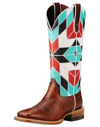 womens boots toe ariat s mirada square toe boots brown blue print