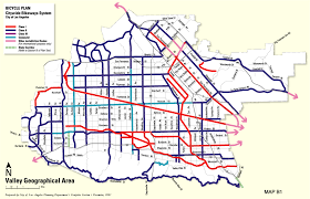 Los Angeles River Map by City Of Los Angeles General Plan Transportation Element Bicycle