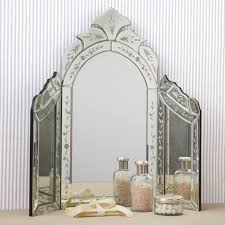 glass vanity table with mirror new venetian style etched glass trifold vanity table top makeup