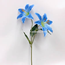 blue lilies china factory direct h55cm blue silk wedding flowers artificial
