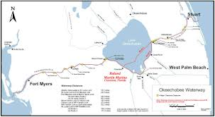 Florida Toll Road Map by Lake Okeechobee Waterway Locks Roland Martin Marina
