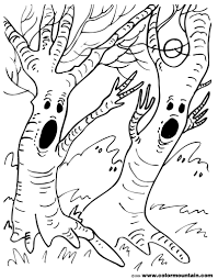 spooky tree coloring page create a printout or activity scary tree
