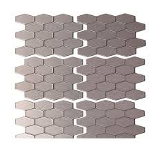 aspect wide hex 6 in x 4 in matted metal decorative backsplash