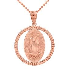 gold cuban necklace images Solid rose gold cuban link circle frame diamond cut lady of jpg