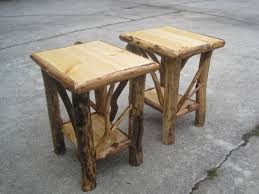 Amish End Tables by Matched Pair Of Rustic Log End Tables Nightstands House Ideas