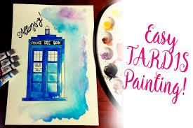 watercolor beginner easy tardis painting youtube