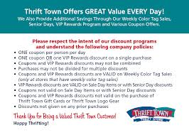 we love our vips thrift town coupon discount policy transition