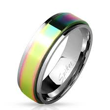 spinner ring personalized stainless steel rainbow spinner ring forevergifts