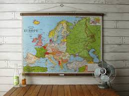 Pull Down World Map by Map Of Europe Vintage Pull Down Reproduction Canvas Fabric