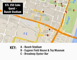 Stl Map Keeping Up With The Kiddos Stl 250 Cake Quest Busch Stadium