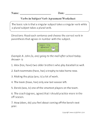 word usage worksheets subject verb agreement worksheets