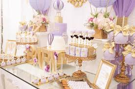 lavender baby shower decorations kara s party ideas purple gold hot air balloon baby shower