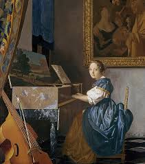 piano painting a young lady seated at a virginal by jan vermeer