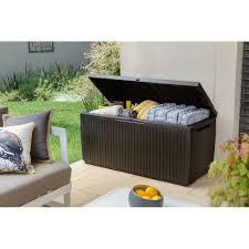 keter springwood 80 gallon all weather outdoor garden storage deck