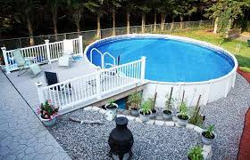 Backyard Above Ground Pool Ideas Above Ground Pool Coping Ideas With White Wooden Deck For