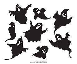 set of ghost silhouettes featuring ghosts with different
