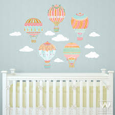 Fabric Wall Decals For Nursery Air Balloons Sky Clouds Wall Print Fabric Wall Decal Nursery