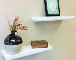 White Floating Wall Shelves by White Floating Wall Shelf With Double Beaded Decorative Trim