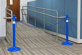 Plastic Handrail Blue Handicap Plastic Chain Barrier Easy To Assemble Kit