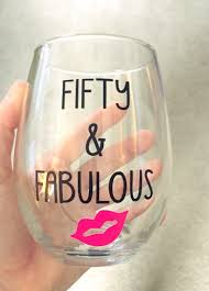 wine birthday new to dashofflair on etsy fifty u0026 fabulous stemless wine glass