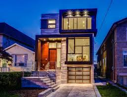 modern style homes exterior with recessed porch lighting toronto