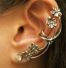 cuff earings antique bronze small flower ear cuff earrings jewelry i