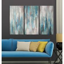 Wall Art Sets For Living Room Hand Painted U0027sea Of Clarity U0027 3 Piece Gallery Wrapped Canvas Art