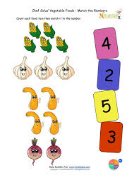 preschool matching foods and numbers activity the vegetable food