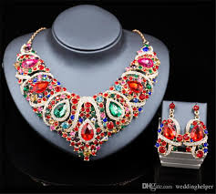 rhinestone necklace sets wholesale images Wholesale artificial jewelry necklace earrings set wedding bridal jpg