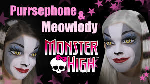 Halloween Monster High Makeup by Monster High Werecat Sisters Face Painting Tutorial Youtube
