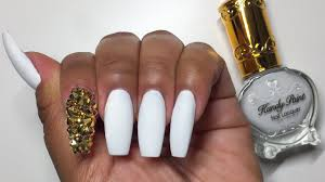 matte white gold bling coffin acrylic nails