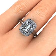 vintage emerald cut engagement rings vintage deco inspired emerald cut engagement ring 2ct