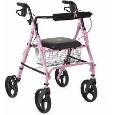 senior walkers with seat medline steel rollator walker burgundy 350 lbs capacity